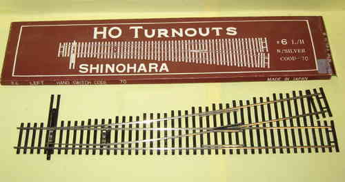 Shinohara H0 N70 #6 L/H Weiche links 9° Code 70
